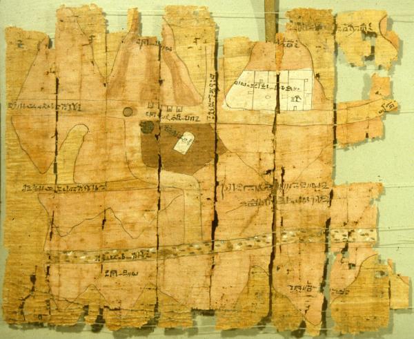 Mappa delle miniere d'oro su papiro, Nuovo Regno XX dinastia 1186-1070 a. C conservato al Museo Egizio di Torino